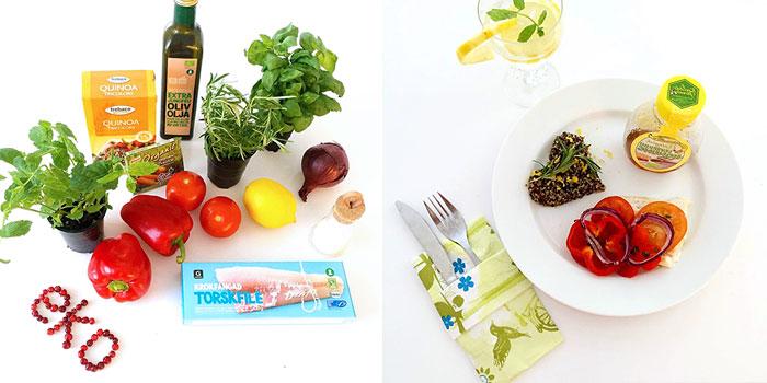 Ugnsbakad torsk med grönsaker, honung och örtig quinoa glutenfritt