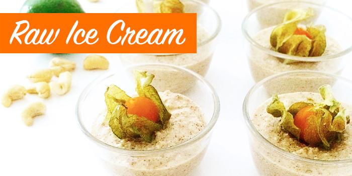 Raw Ice Cream med cashewnötter, vanilj och lime