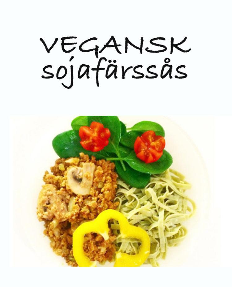 Ett fat med vegansk sojafärssås med bönpasta.