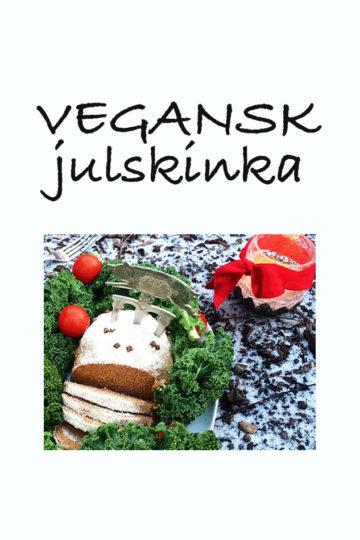 En bricka med vegansk julskinka.