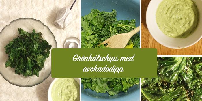 Grönkålschips med avokadodipp