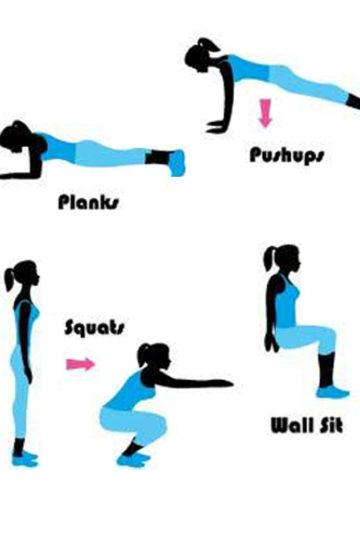 Bilder på olika övningar i januari utmaningen hemmaträning.