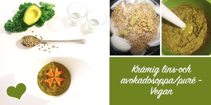 Krämig lins-och avokadosoppa/puré - Vegan