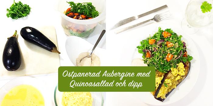 Ostpanerad aubergine med quinoasallad och dipp - vegetariskt och glutenfritt