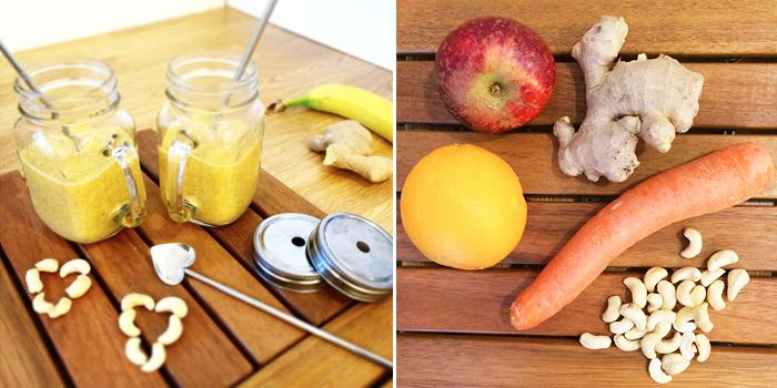 2 glas med smoothie - apelsin äpple, ingefära och banan.