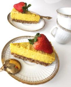 vegansk saffran cheesecake rawfood