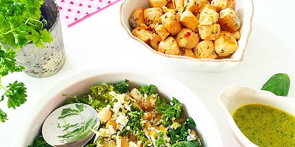 Kumminstekt lax med blomkålssallad, parmesan och basilikadipp - glutenfritt