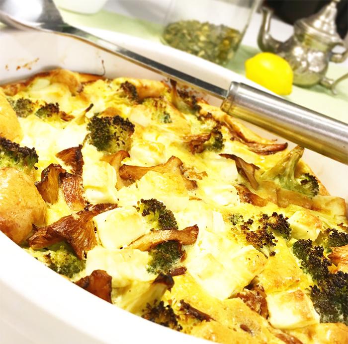 kantarellpaj fetaost broccoli glutenfri lowcarb