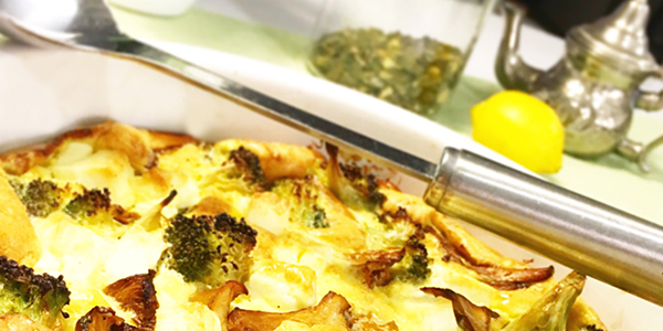 kantarellpaj fetaost broccoli glutenfri lowcarb