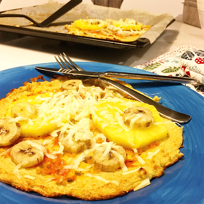hawaii pizza glutenfri blomkål