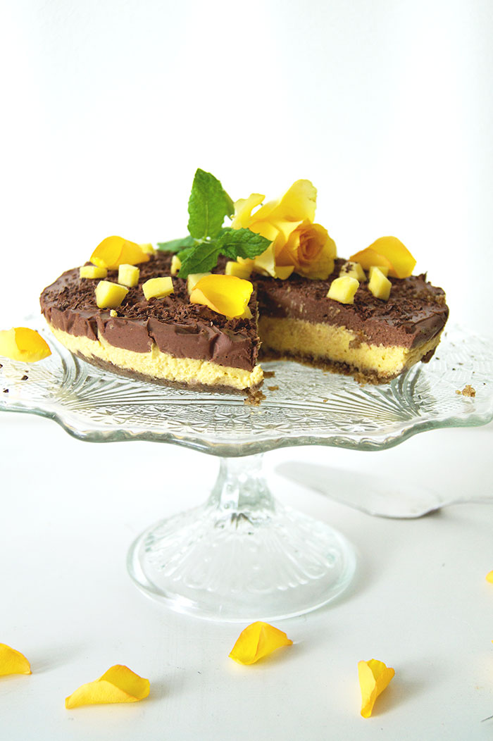 Mango- och choklad cheesecake - rawfood och vegan