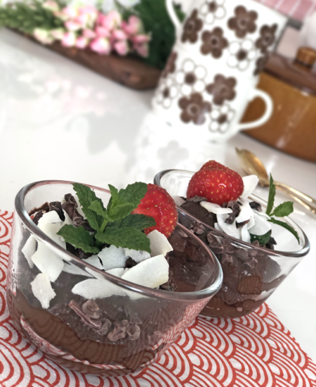 Foto på chokladmousse vegan.