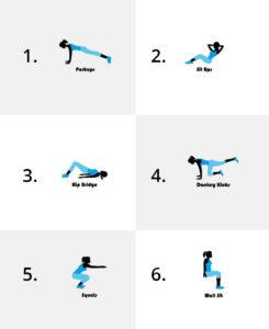 Illustrationer på 6 olika övningar för hemmatraning.
