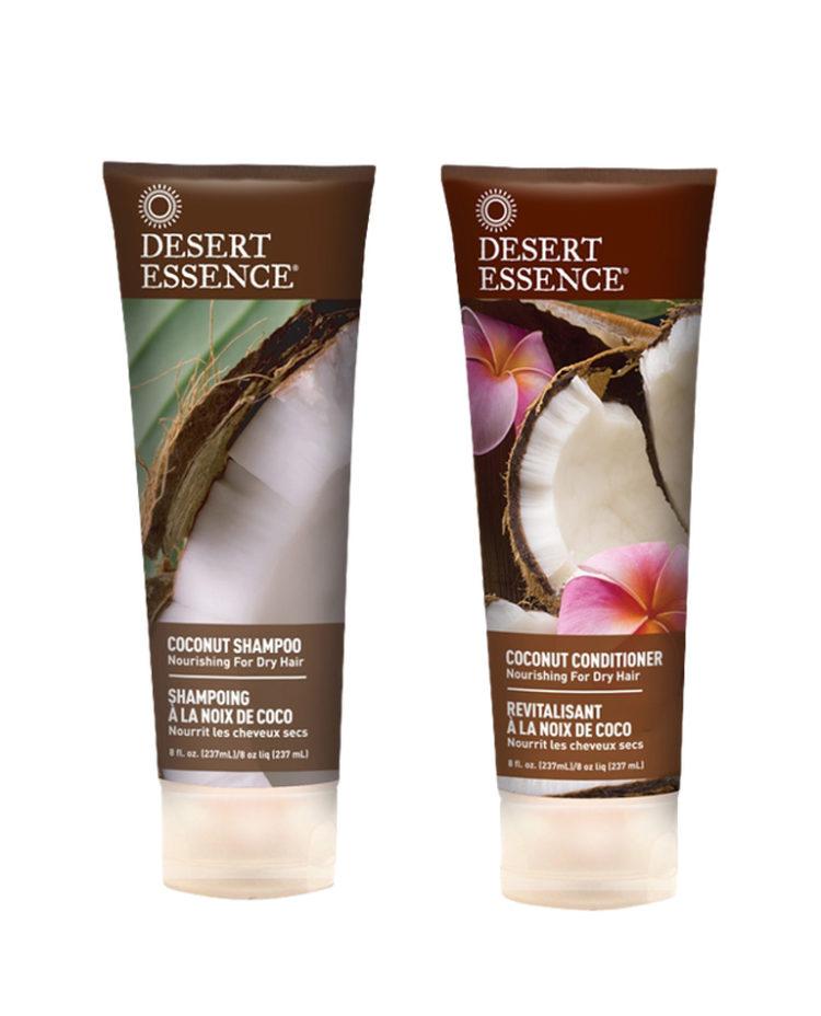 2 flaskor desert kokosnöt schampo och balsam.