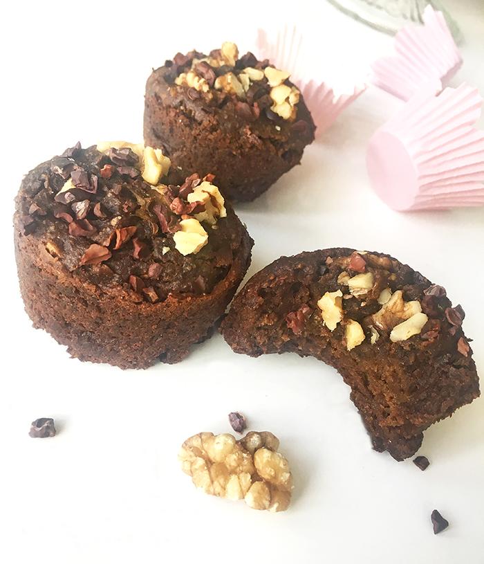 Choklad- och avokado muffins med valnötter - glutenfria och vegan