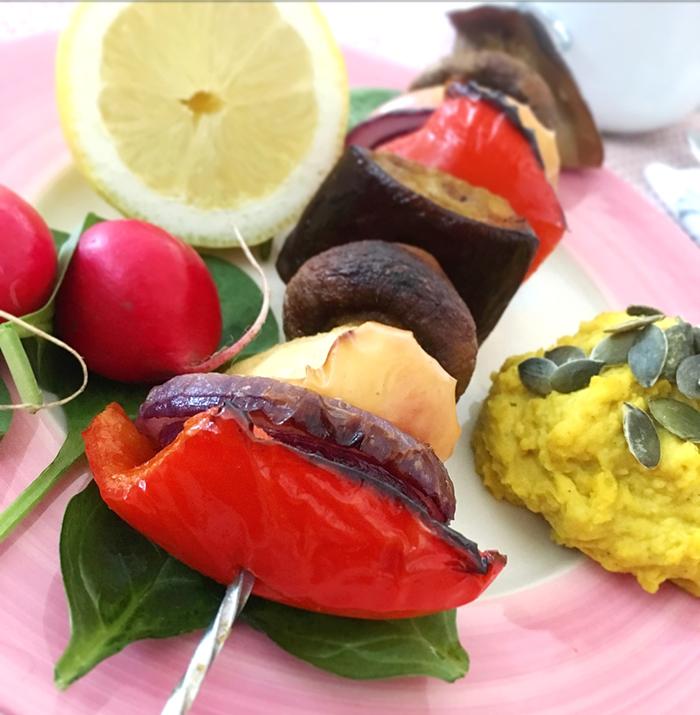 grillade grönsaker i yaconmarinad vegan