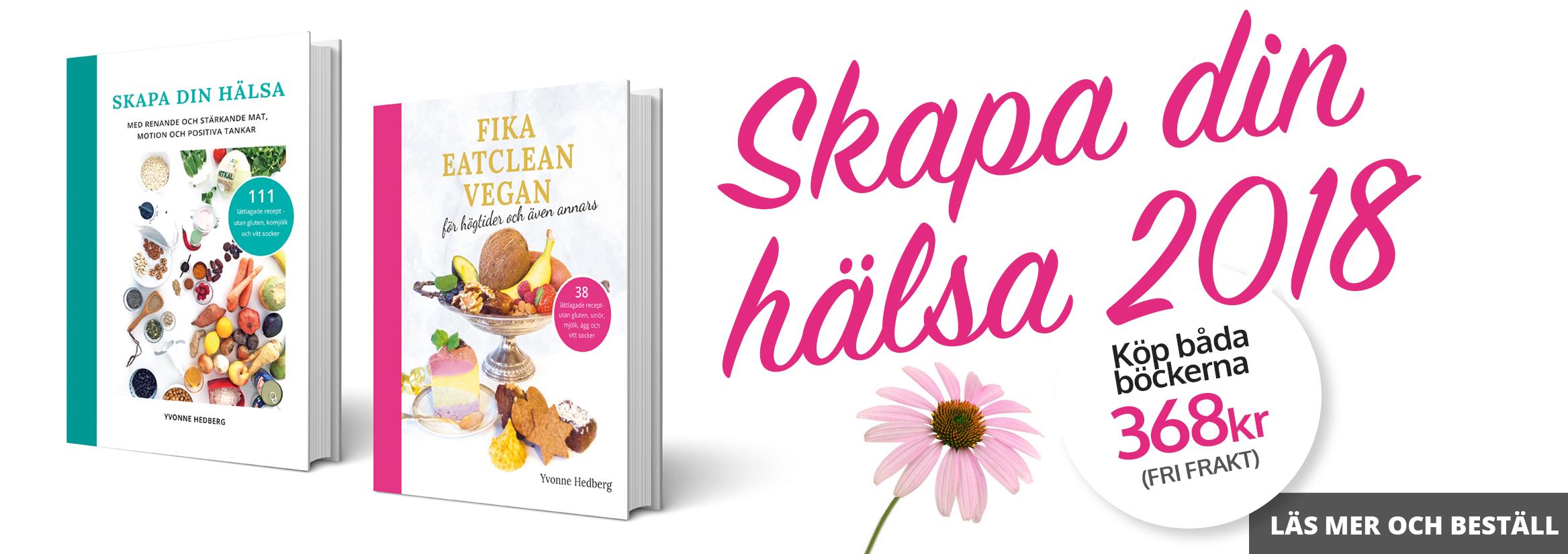 healthcreator har nu rea på kokboken skapa din hälsa och kakboken fika eatclean vegan av Yvonne Hedberg
