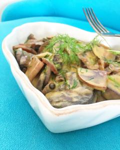 inlagd senaps aubergine vegansk sill