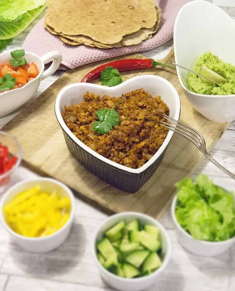 Veganska tacos - glutenfritt och eatclean med tillbehör.