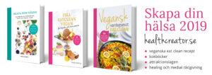 Bild på kokböckerna Vegansk vardagsmat, Skapa din hälsa, Fika eatclean vegan av Yvonne Hedberg, healthcreator