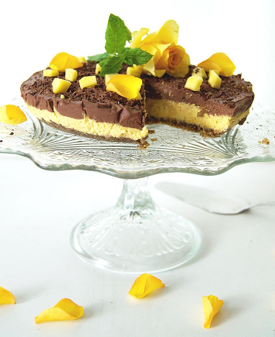 mango choklad cheesecake vegan