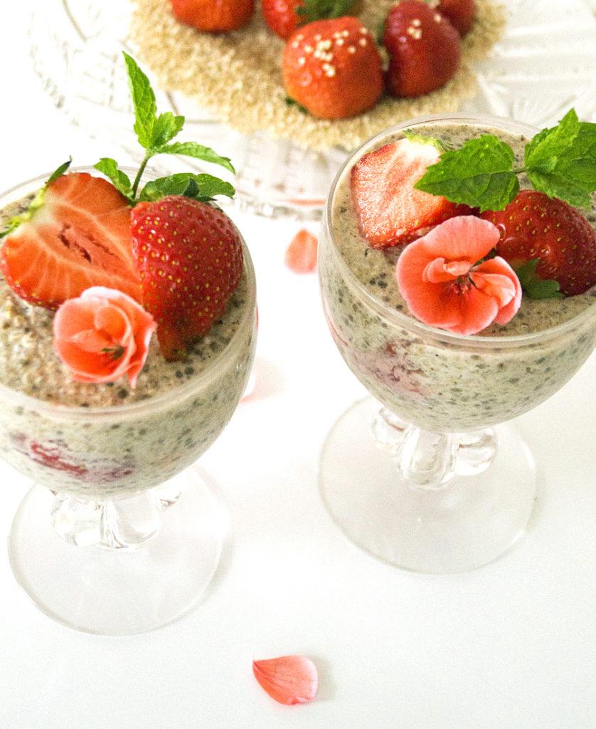 over night quinoa och havre med jordgubbar glutenfri vegan