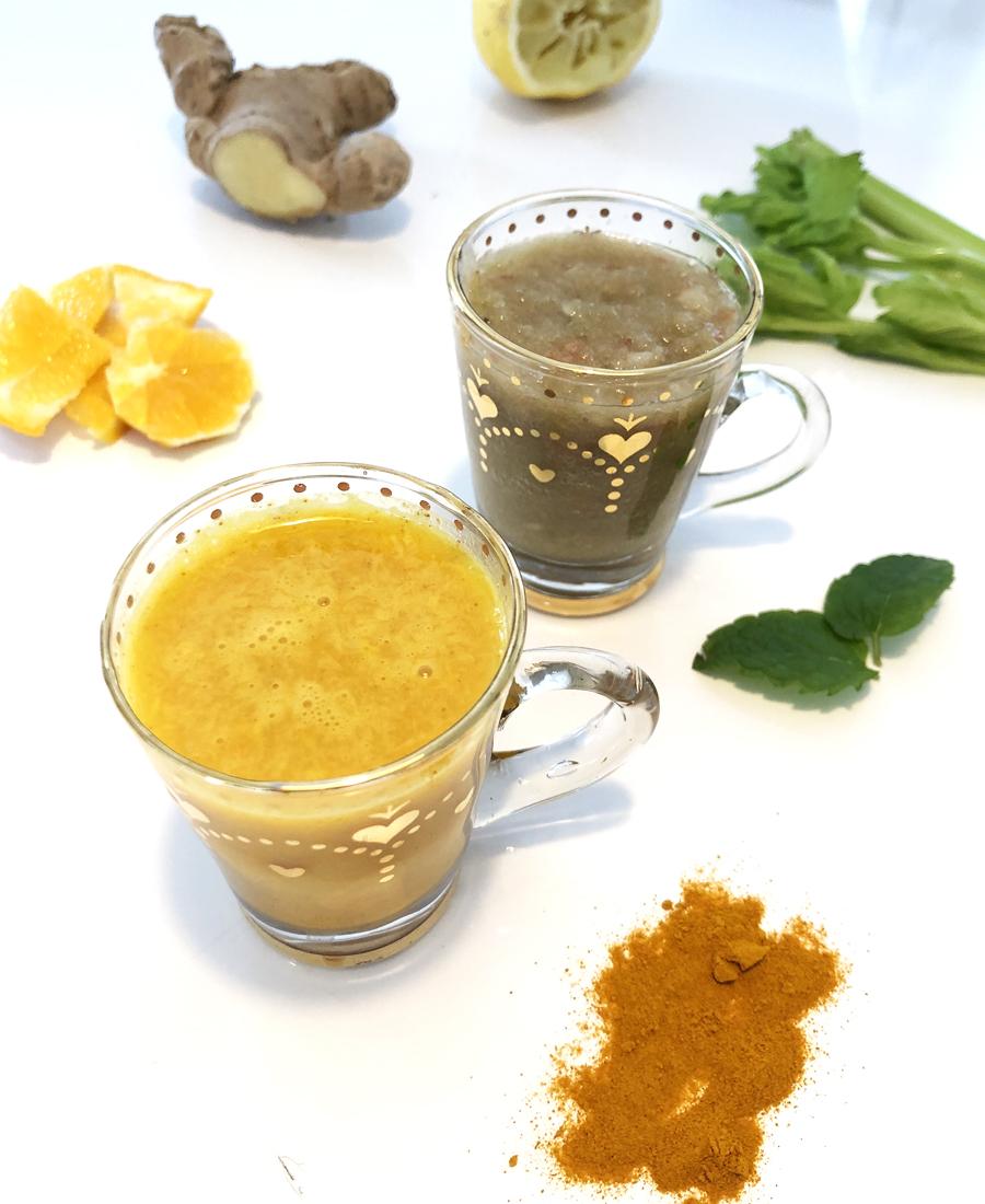 gurkmejashot och sellerishot smoothie vegan