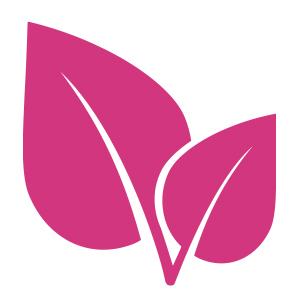 Rosa löv som symboliserar healthcreators ikon.