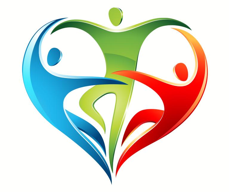 Illustration av pictogram människor som bildar ett hjärta med olika färger.